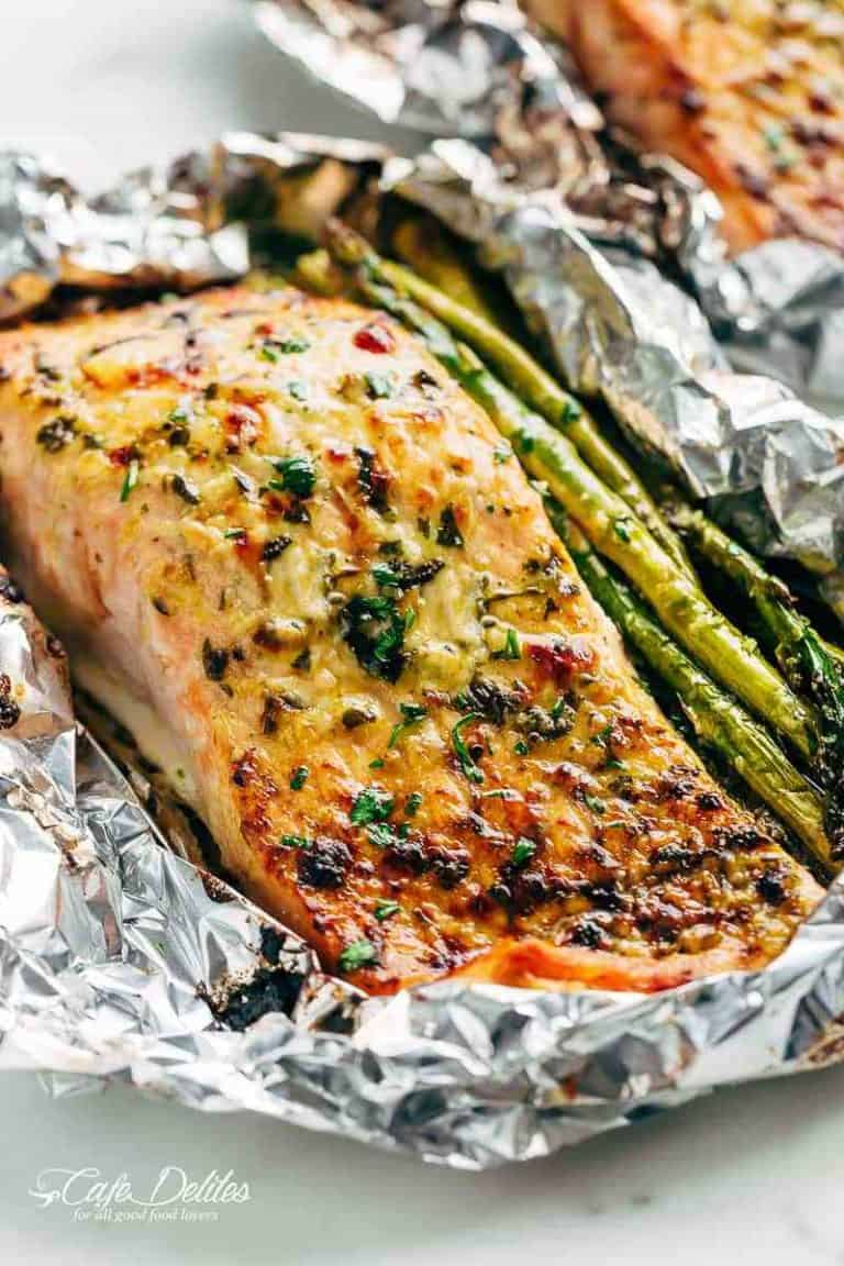 lemon parmesan salmon with asparagus in foil
