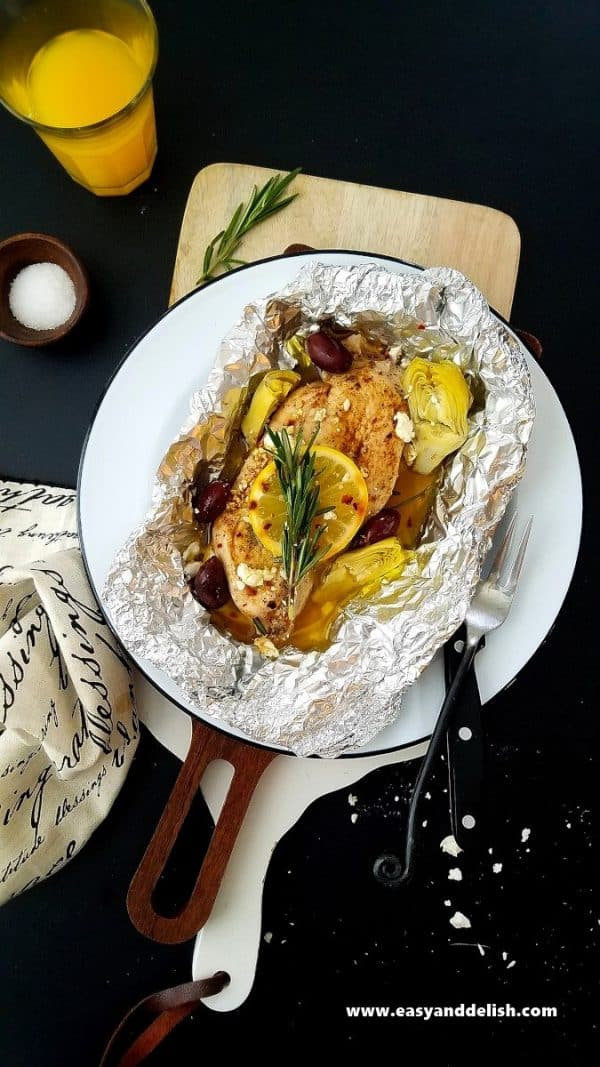 mediterranean chicken with olives and squash and thyme
