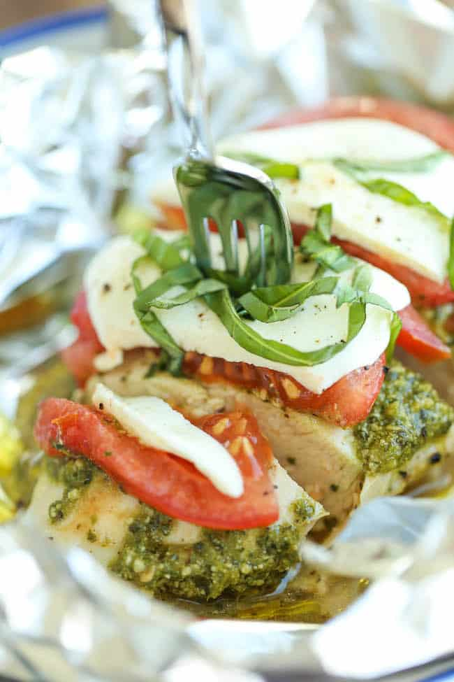 pesto caprese foil pack recipe