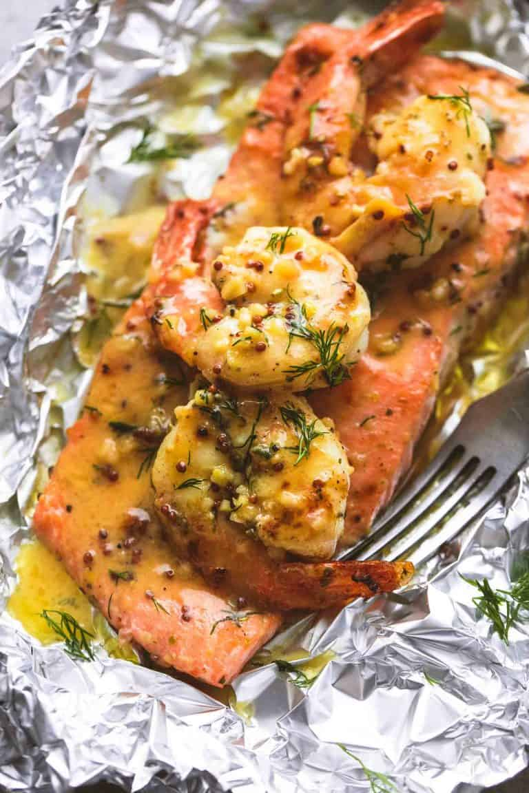 Garlic dijon shrimp and salmon keto foil pack