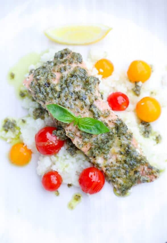 salmon and basil pesto with cherry tomatoes