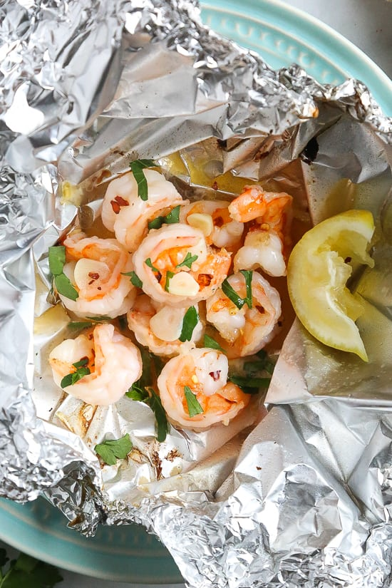 easy shrimp scampi foil pack
