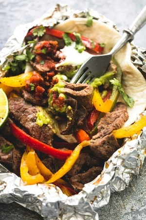 beef fajita with vegetables foil pack