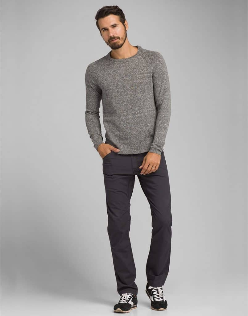ethical clothing brands PrAna male model black pants and grey sweater