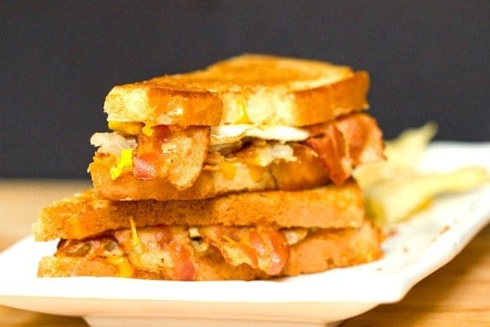Bacon egg and hashbrown sandwich